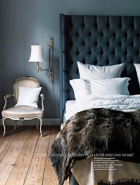 Marianne Brandi and Keld Mikkelsen / Emma Persson Lagerberg / Petra Bindel via Elle Interior {eclectic blue, gray and white bedroom} by recent settlers, via Flickr