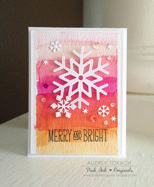 the Lawn Fawn blog:  Stitched Snowflake Watercolor Christmas Card by Audrey Tokach.