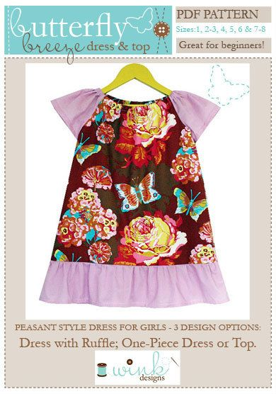 Butterfly Breeze Peasant Dress & Top PDF Sewing Pattern for Girls: Sizes 1-8. $9.95, via Etsy.