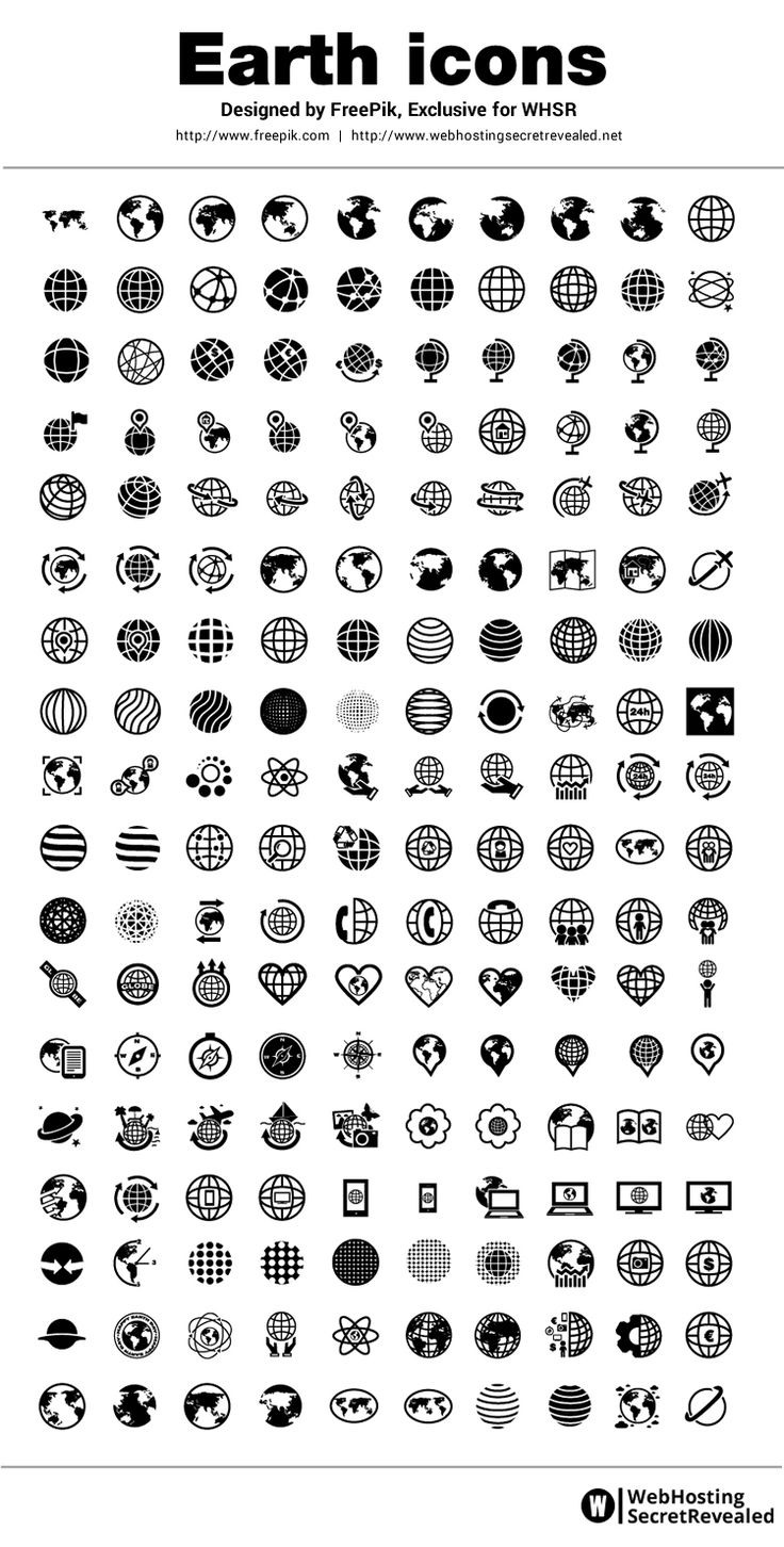 Earth Icons - 180 free icons in vector format.