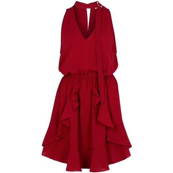 Finders Keepers Curtis Burgundy Mini Dress - Size L ($160) ❤ liked on Polyvore featuring dresses, vestidos, short dresses, open back dresses, ruffle mini dress, short red dress and flutter-sleeve dress