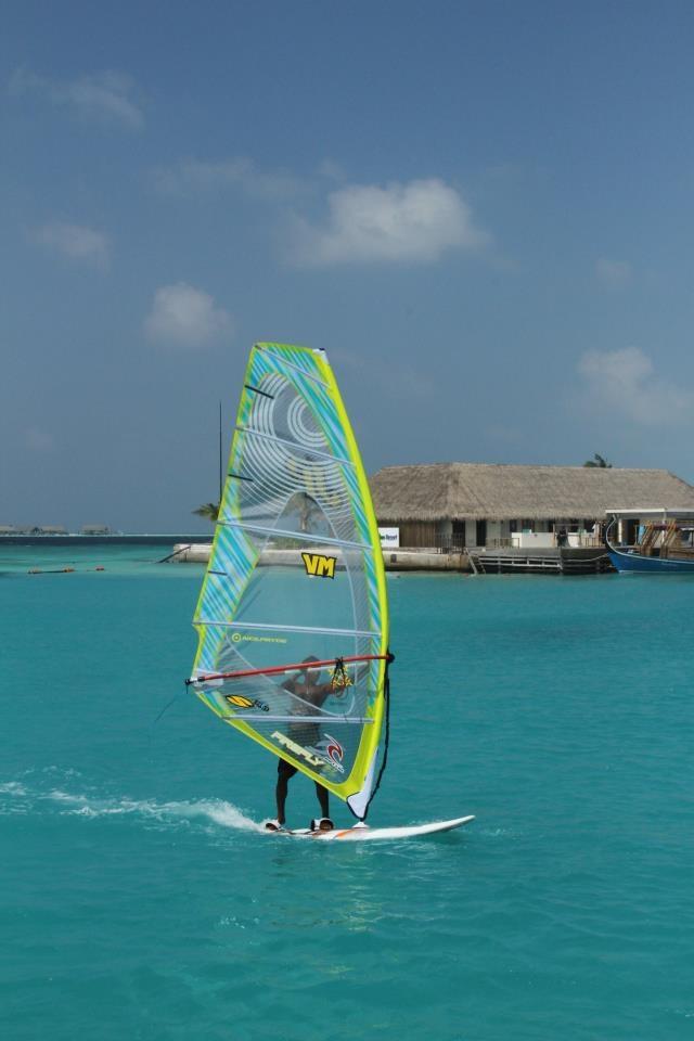 Windsurfing on property at the Holiday Inn Resort Kandooma Fushi - South Male Atoll, Maldives Islands