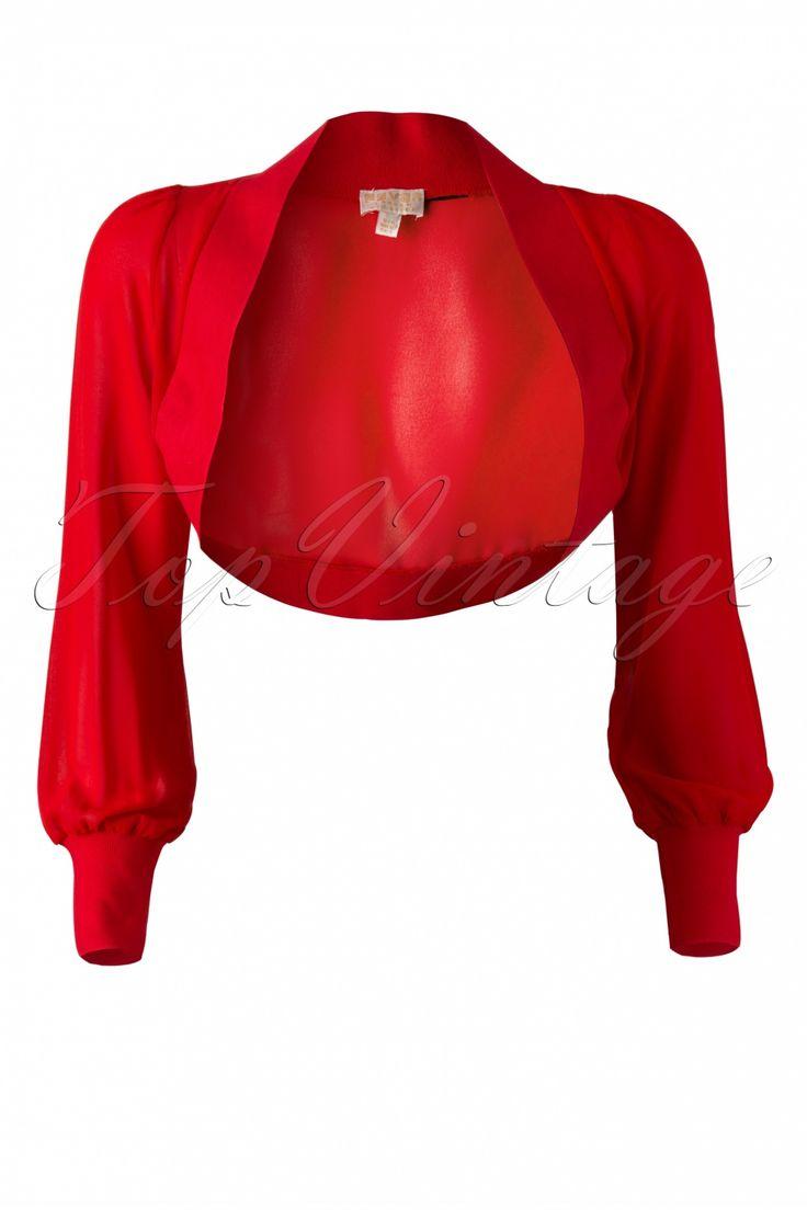 Fever - 40s Chiffon Fez Bolero in Red