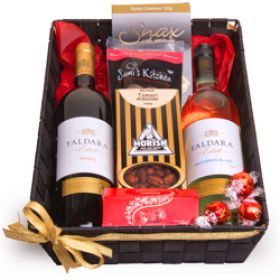 Give your dad this Aussie Drinks Gift Basket for Father's Day!   The gift consist of Australia's Jacobs Creek Shiraz and Sauvignon Blanc wines, Snax salted cashews, Morish Tamari almonds, Sami's Smoked nut mix and 3 pieces of Lindt chocolate.  #fathersday   #fathersdaygiftideas