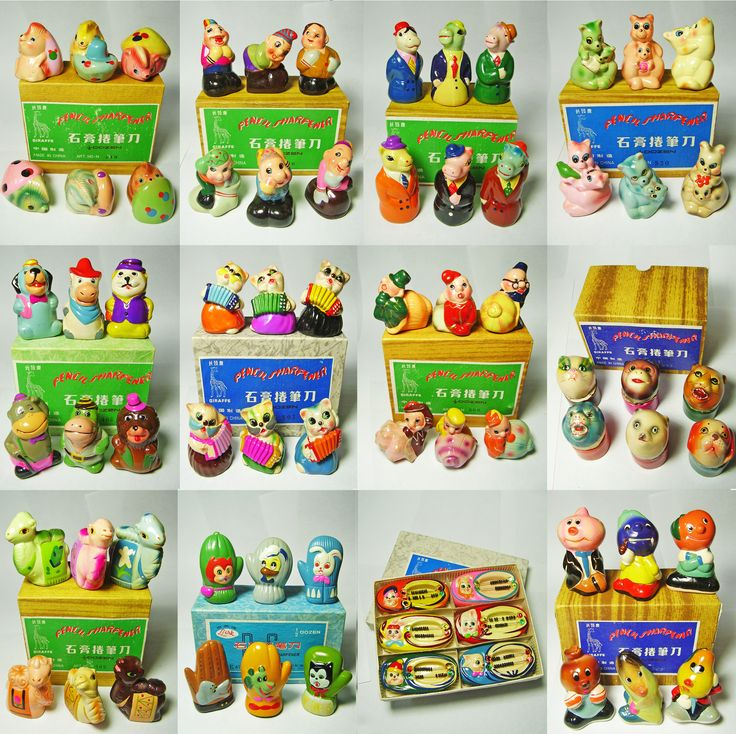 FOR SALE ! 12 differents sets of VINTAGE Chinese CHALKWARE clay CERAMIC figural PENCIL SHARPENERS ! http://www.ebay.com/sch/mypinkturtle/m.html?_ipg=50&_sop=12&_rdc=1 Click here to BID or BUY IT NOW on EBAY !