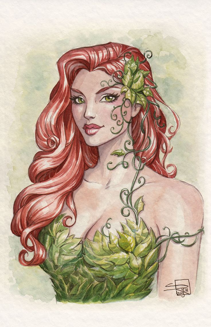 Poison Ivy Watercolor by Sabinerich.deviantart.com on @deviantART
