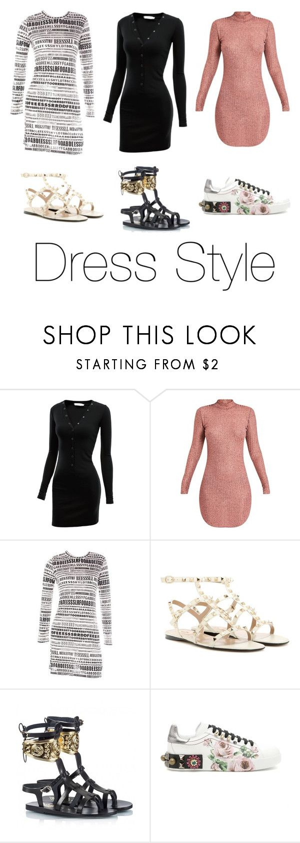 """Dress Style - casual & chic"" by lucia-grigore ❤ liked on Polyvore featuring Doublju, Comme des Garçons, Valentino, Ancient Greek Sandals, Dolce&Gabbana, redcarpetstyle and OscarsThrowback"