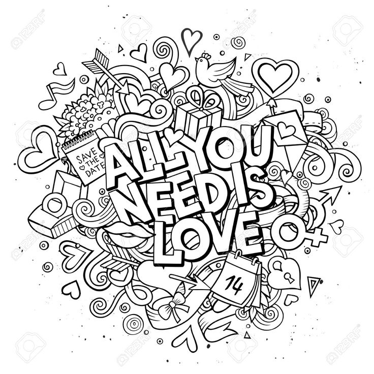 123rf Images Balabolka Balabolka1601 160100183 51045809 Doodle All You Need Is Love Illustration Coloring BooksAdult