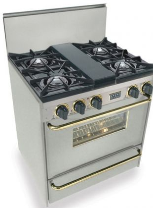 """Images of FiveStar TPN-260-7BSW 30"""" Freestanding Gas-Liquid Propane Range With 4 Open Burners, 1 Vari-Flame Simmer, 3.69 Cu. Ft. Manual Clean Oven, Broiler Drawer, 120 Volts, 10 Amps, In Stainless Steel With Brass 