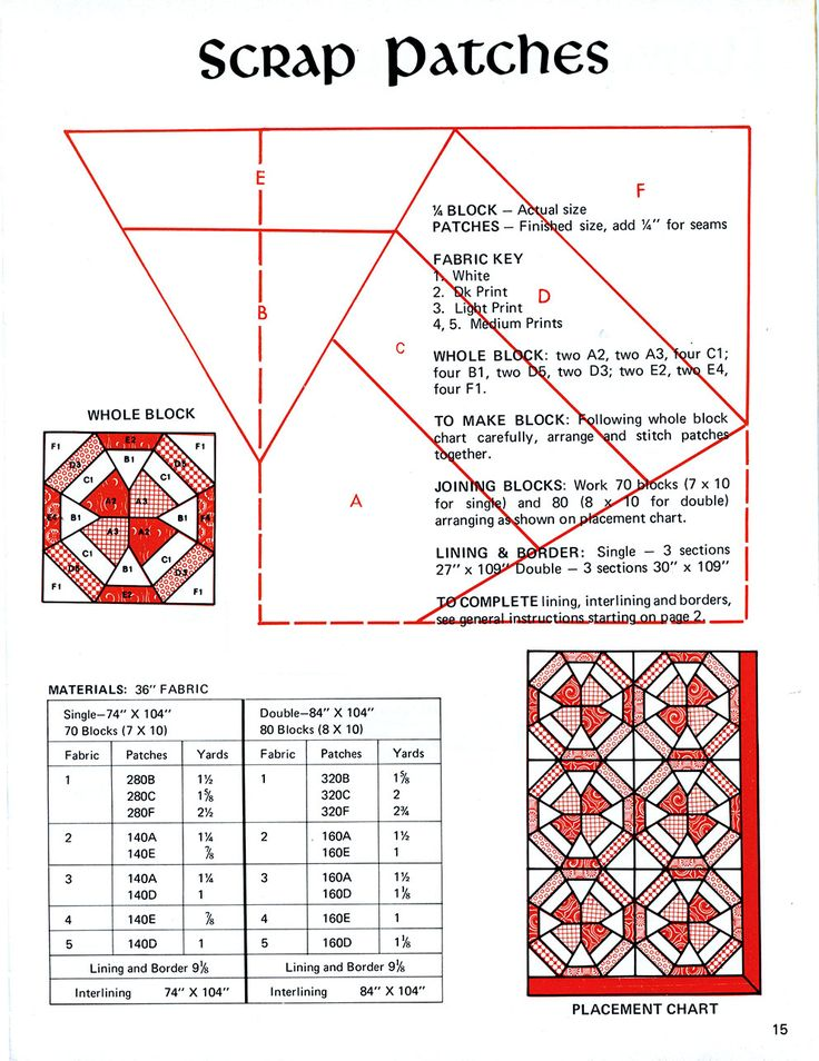 """Scrap Patches"" Vintage Quilt Pattern Scan"