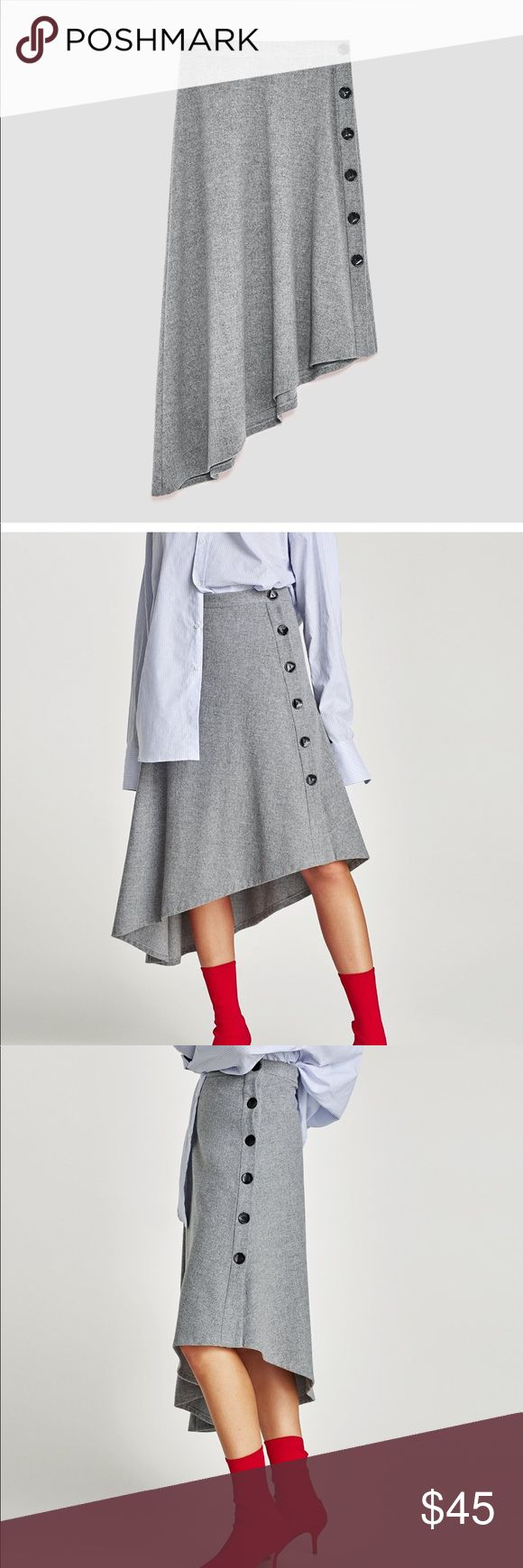 Zara Asymmetrical Midi Skirt Grey Asymmetrical Midi Skirt with Side Button Closure.  Wool Blend. Size L. New w/Tags Zara Skirts Midi
