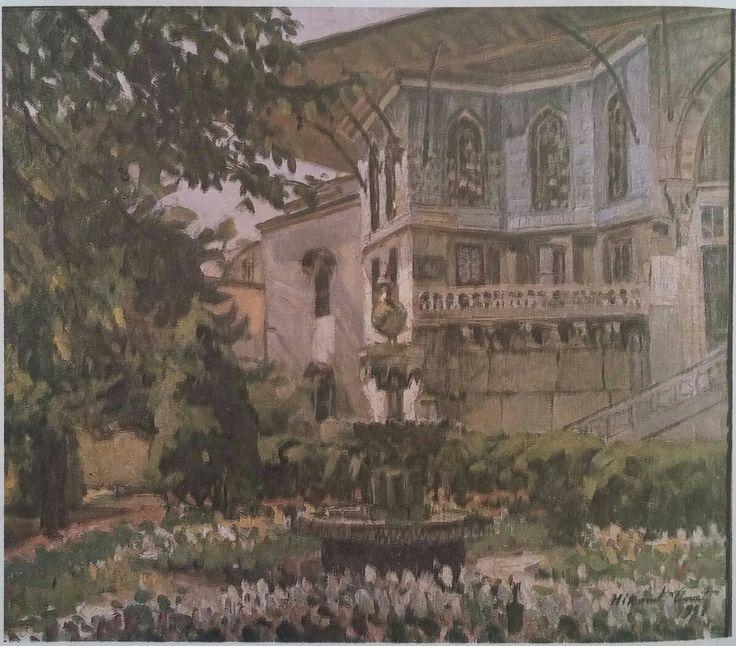Hikmet Onat: Topkapı Sarayı,(1953).55×65 cm. Ozel koleksiyon