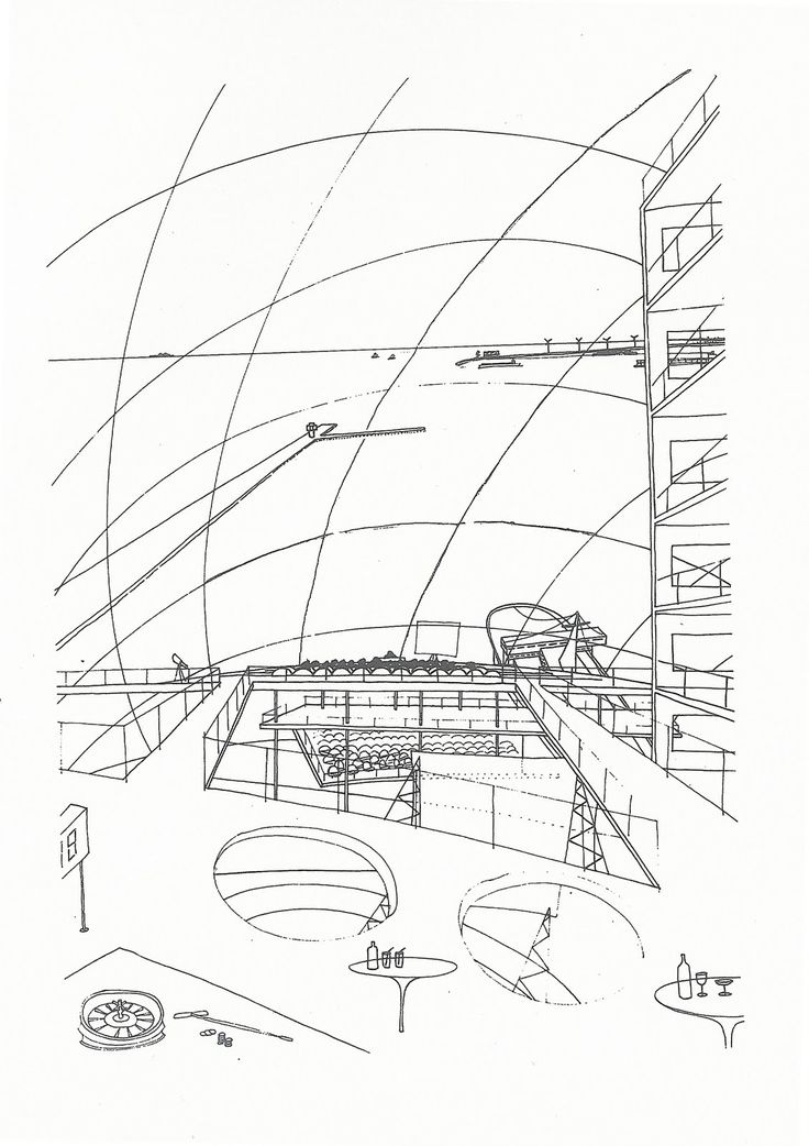 Oma/Rem Koolhaas early sketches – SOCKS / Zeebrugge Sea Terminal's competition, 1989