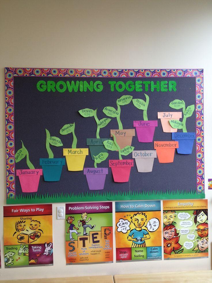 Birthday Wall on Spring Flower Bulletin Boards