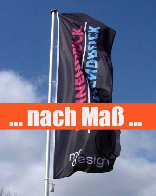 Fahnen & Flaggen drucken nach Maß auf 115g/m² Fahnenstoff können Sie hier in jeder Wunschgröße online bestellen.