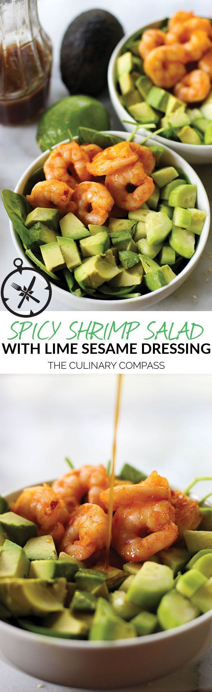 This Spicy Shrimp Salad with Lime Sesame Dressing is so refreshing and simple to…