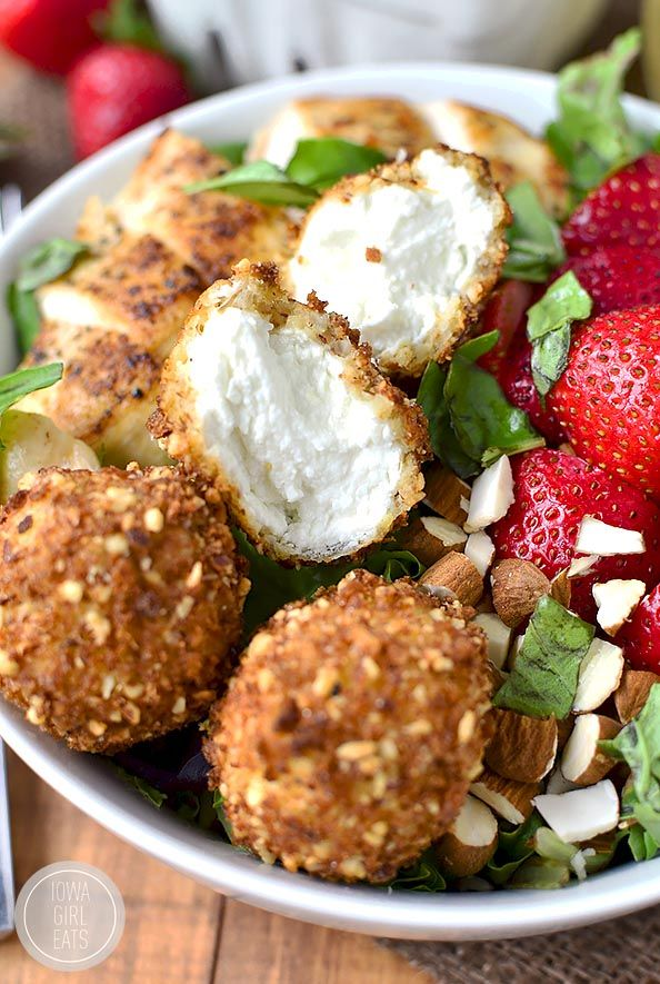 Strawberry-Basil Chicken Salad with Fried Goat Cheese Balls recipe | iowagirleats.com