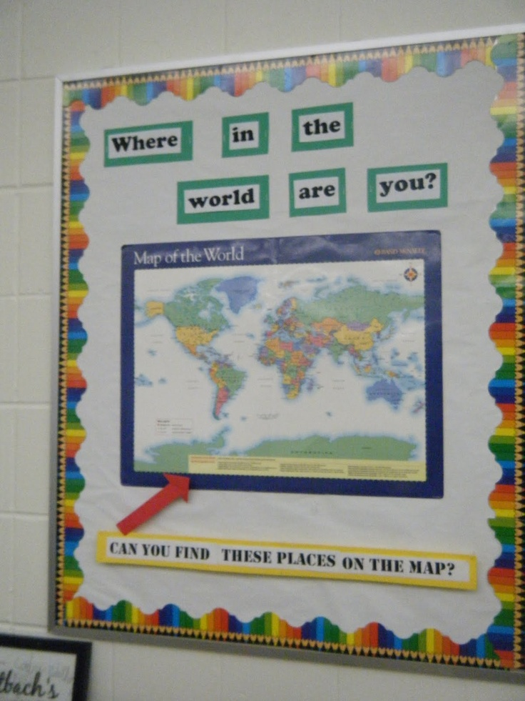 Geography bulletin board--give clues and kids find?  Draw at end of week?