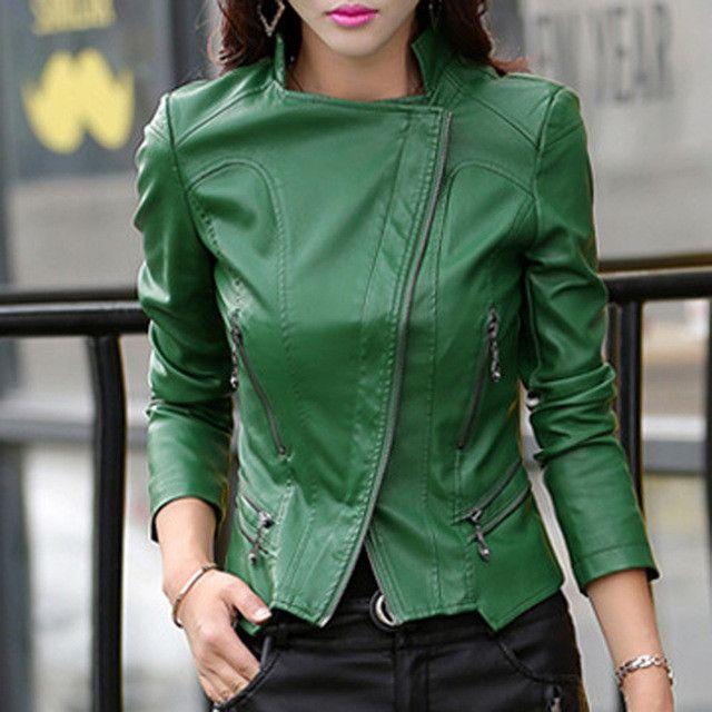 TANGNEST Women Leather Jacket 2017 New Plus Size M-5XL Women Motor Jackets Solid Slim PU Leather Motorcycle Jackets Coats WWJ563