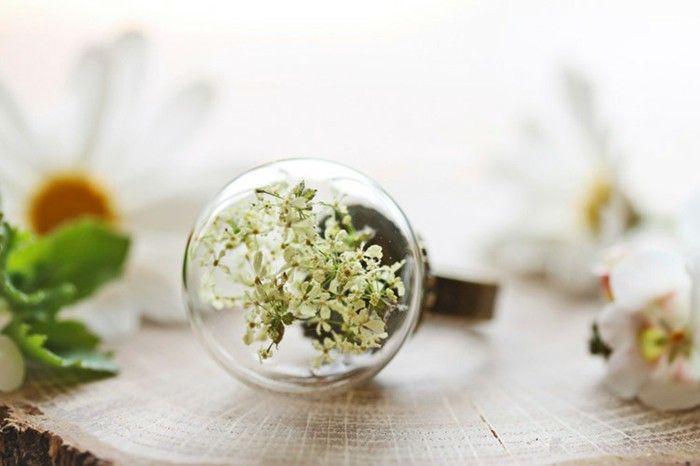handmade glass brass ring flower fairy jewelry
