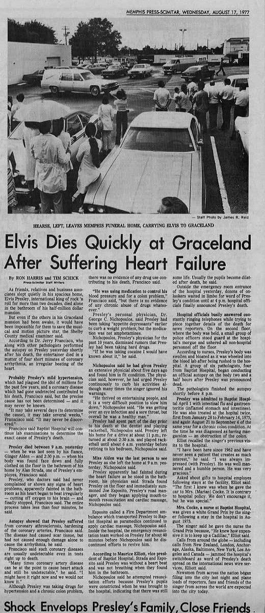 ELVIS DEAD AT GRACELAND MEMPHIS PRESS-SCIMITAR ORIGINAL ELVIS PRESLEY ...