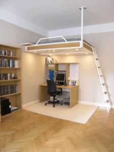 Loft bed makes space for both home office, reading nook and exercise corner in one single room