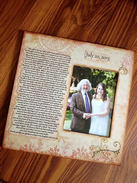 Wedding Speech Picture Frame Father Of The Bride By Crystalbucket 5000