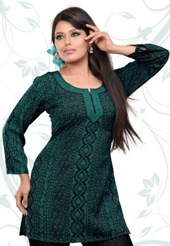 Indian Tunic Top Womens / Kurti Printed Blouse India Clothing (Green) Maple Clothing. $22.99