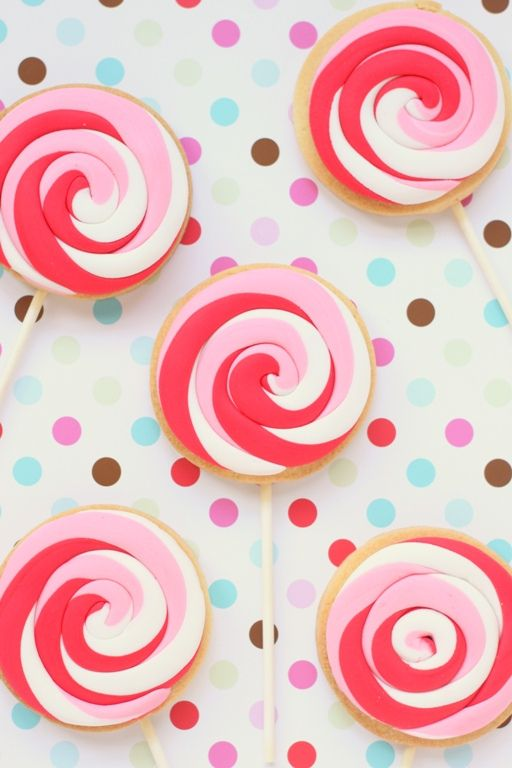 pinky lollypop cookies, I never would have thought of this, this is brilliant!!