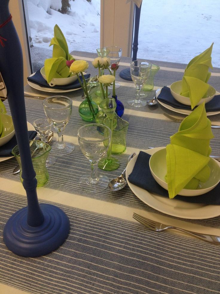 "Linen table cloth ""Vintergatan"" and napkins from Växbo Lin"
