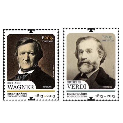 Poštové známky Portugalska k 200. Výročiu narodenia Richarda Wágnera a Giuseppe Verdiho.
