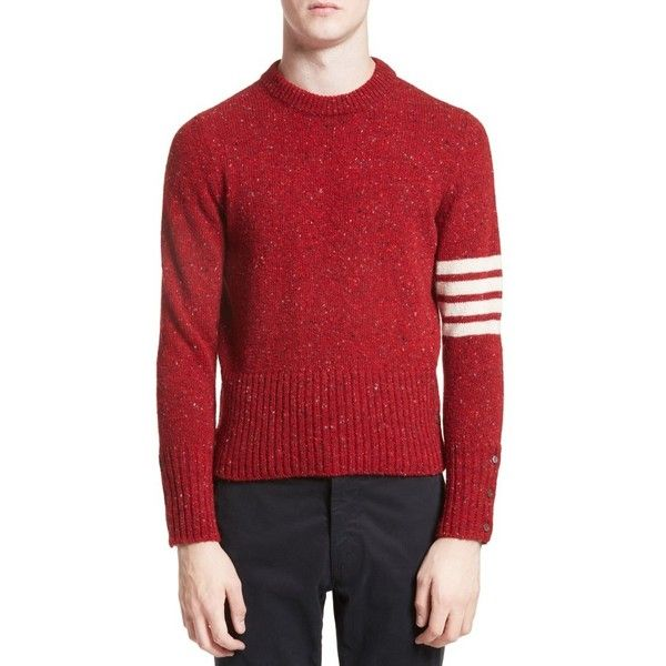 Men's Thom Browne 4-Bar Wool & Mohair Sweater ($890) ❤ liked on Polyvore featuring men's fashion, men's clothing, men's sweaters, red, mens wool sweaters, mens sweaters, mens mohair sweater, men's wool crew neck sweaters and mens crew neck sweaters
