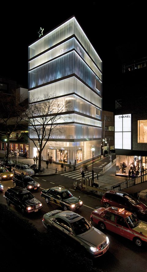 Building Facade Lighting Christian Dior Building By Sanaa In Tokyo Materials Interact With Light Makes The Whole Buidling An Facade Lighting R