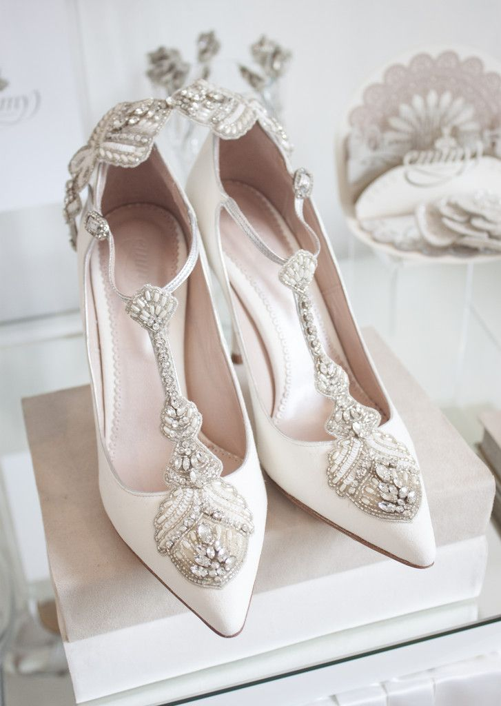 Emmy London Aurelia Bridal T Bar Shoes In Ivory With The Band Taken