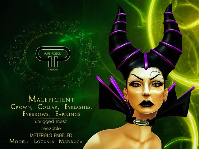 Pure Poison - Maleficicent HeadPiece: Crown, Collar, Earrings, Eyebrows, Eyelashes | Flickr - Photo Sharing!