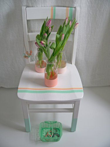 washi tape chair and painted vases