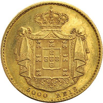 Portugal 5000 Reis gold coin 1871