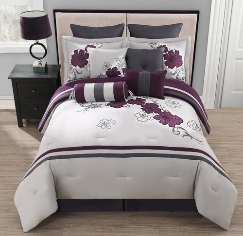 25 best images about purple and grey bedroom on pinterest for Purple black white and silver bedroom