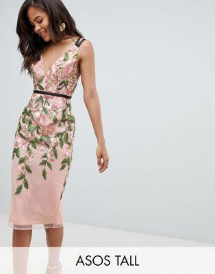 08abd7d62f8f ASOS DESIGN Tall floral embroidered pencil midi dress | Fashion in ...