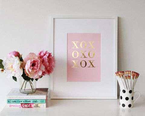 Gold & Silver Foil XOXO Handmade Art Print A4 - Hugs anad Kisses- Pink