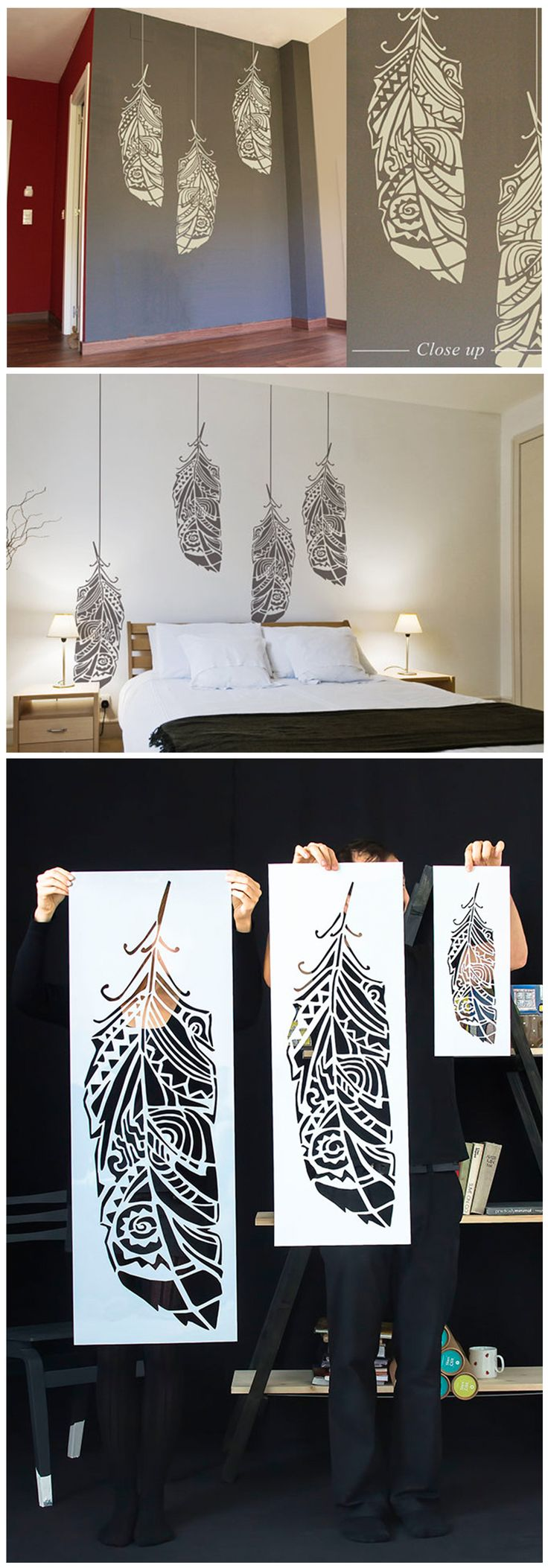 Feathers wall stencils / Scandinavian wall stencils. Now available in different sizes !