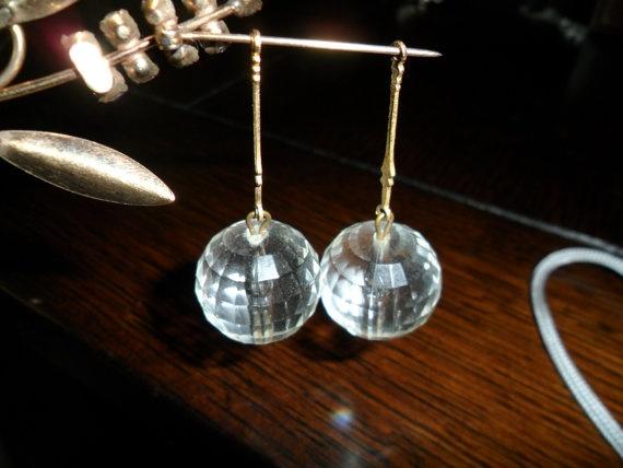 Vintage Crystal Ball Dangling Earrings by PandBTreasures on Etsy, $3.00