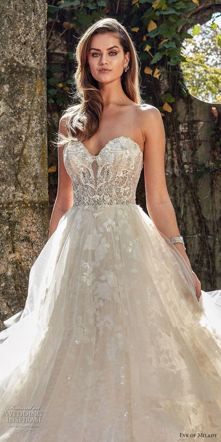 eve of milady spring 2018 bridal strapless sweetheart neckline heavily embellished beaded bodice romantic princess a line wedding dress chapel train (4) zv — Eve of Milady Couture Spring 2018 Wedding Dresses #uniqueweddinghairstyle