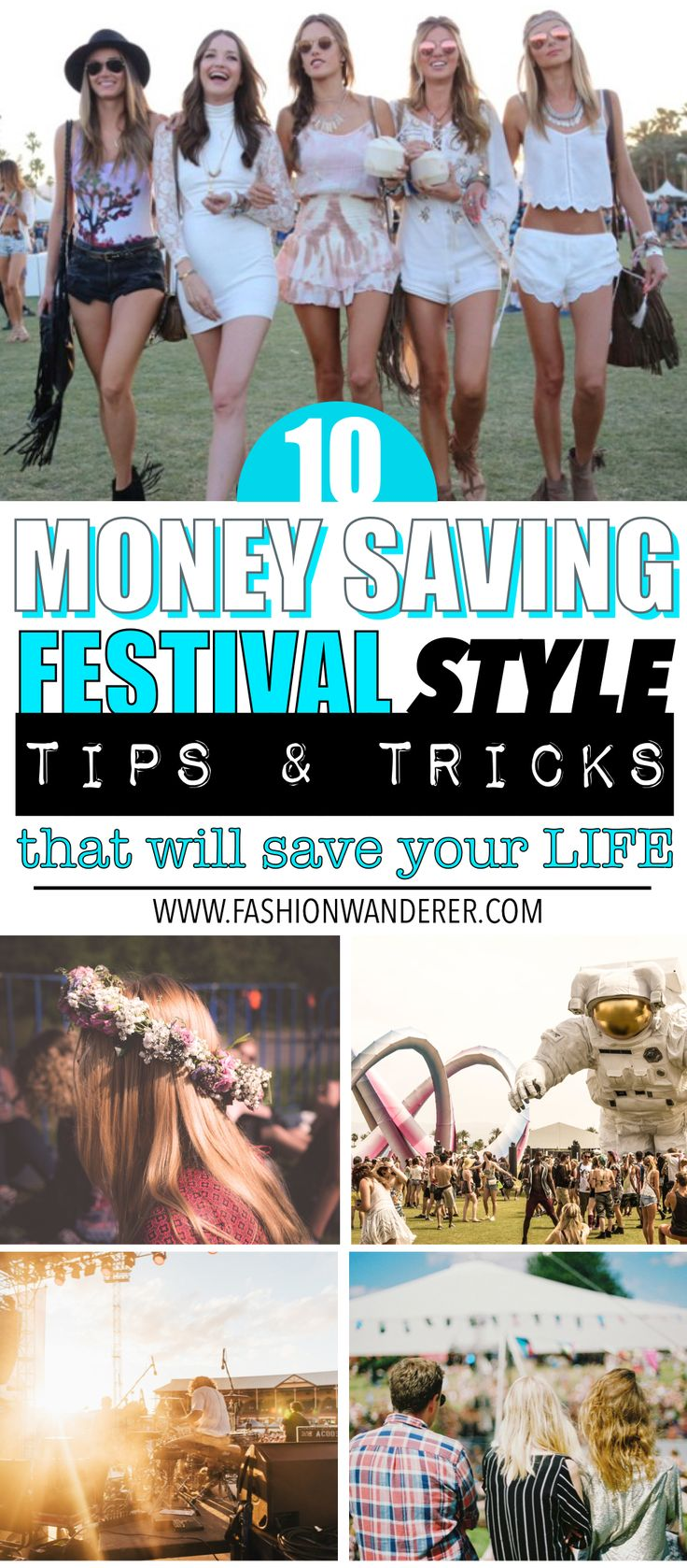 These top 10 genius money saving FESTIVAL STYLE tips are THE BEST! I'm so glad to find these AWESOME tips not only they are budget friendly but also you can use your wardrobe, participate Facebook group and many more money saving tips and get your outfit together easily and quickly! Perfect tips for Festival Season! Definitely pinning!   #festivalfashion #festival #festivalstyle #coachella #lollapalooza #lifeisbeautiful #outfitideas #musicfestival #edm #burningman #tomorrowland  #bohofashion