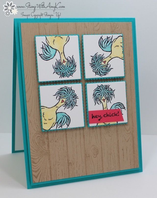 I used that crazy chicken from the Stampin' Up! Hey, Chick stamp set, a 2017 Sale-a-bration exclusive, to create my card to share today.  I couldn't help myself…I had to use that …