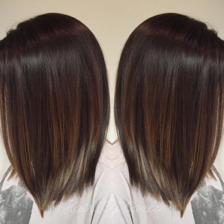 dark brown hair with subtle balayage