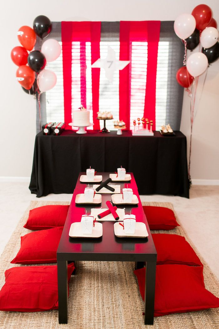 Red White Black Ninja Birthday Party Cake Table Decorations
