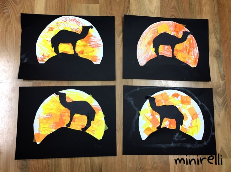 The kids love camels and they are one of the first animals you think of when you think about deserts! We thought these camel silhouettes looked fantastic! You may need: Black construction paper Whi…