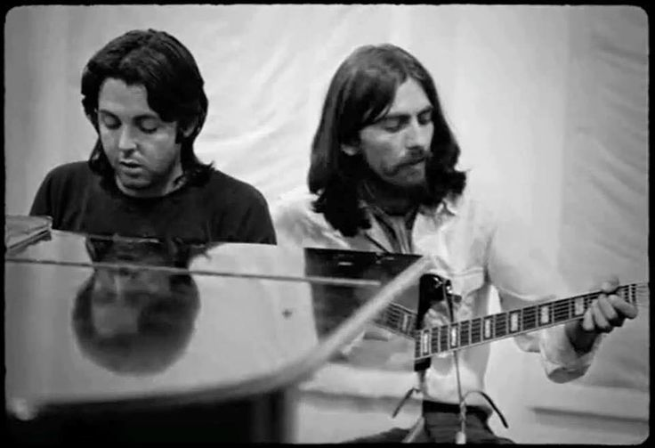 Paul and George during the Abbey Road album recording sessions, 1969