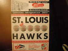1961-1962 Saint Louis Hawks Basketball Official Magazine Vs Syracuse Nats (Ex)